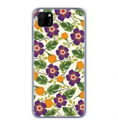 Coque en silicone Huawei Y5P - Fleurs Violettes