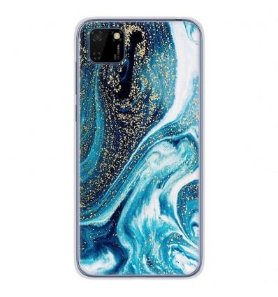 Coque en silicone Huawei Y5P - Marbre Bleu Pailleté