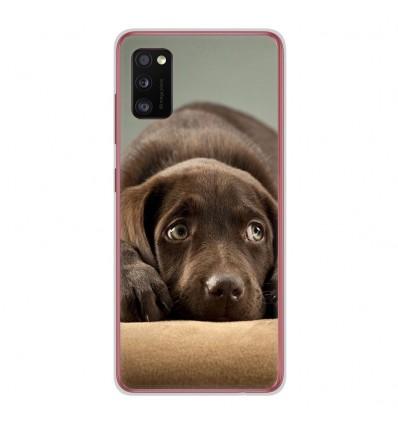 Coque en silicone Samsung Galaxy A41 - Chiot marron