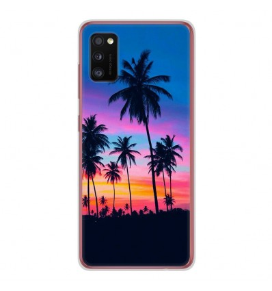Coque en silicone Samsung Galaxy A41 - Palmiers colorés