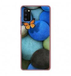 Coque en silicone Samsung Galaxy A41 - Papillon galet bleu