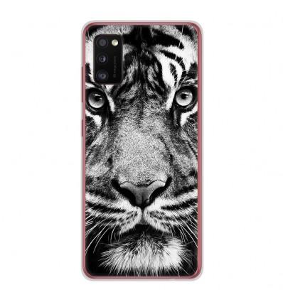 Coque en silicone Samsung Galaxy A41 - Tigre blanc et noir