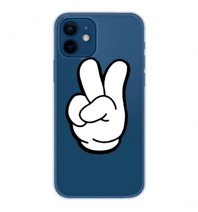 Coque en silicone Apple iPhone 12 - Swag Hand Blanc