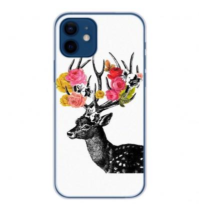 Coque en silicone Apple iPhone 12 - Cerf fleurs