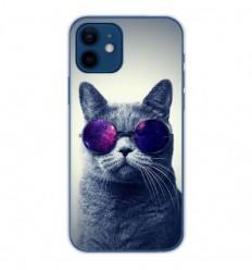 Coque en silicone Apple iPhone 12 - Chat à lunette