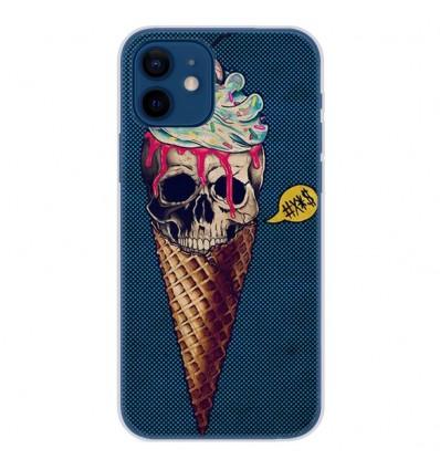 Coque en silicone Apple iPhone 12 - Ice cream skull blue