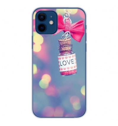 Coque en silicone Apple iPhone 12 - Love noeud rose