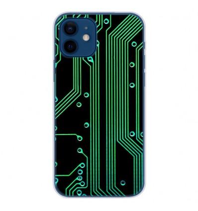 Coque en silicone Apple iPhone 12 - Texture circuit geek