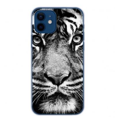 Coque en silicone Apple iPhone 12 - Tigre blanc et noir