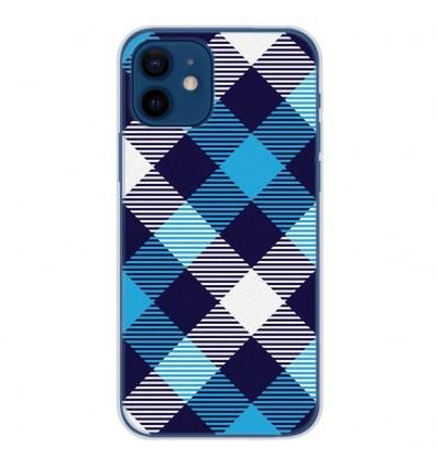 Coque en silicone Apple iPhone 12 - Tartan Bleu
