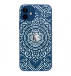 Coque en silicone Apple iPhone 12 - Mandala blanc