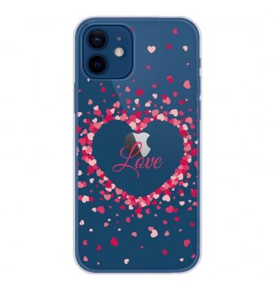 Coque en silicone Apple iPhone 12 - Confettis de Coeurs Love