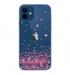 Coque en silicone Apple iPhone 12 - Confettis de Coeurs Rose