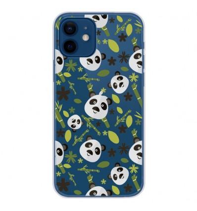 Coque en silicone Apple iPhone 12 - Pandas et Bambou