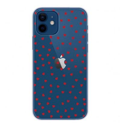 Coque en silicone Apple iPhone 12 - Pluie de Coeurs