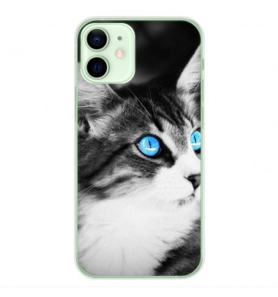 Coque en silicone Apple iPhone 12 Mini - Chat yeux bleu