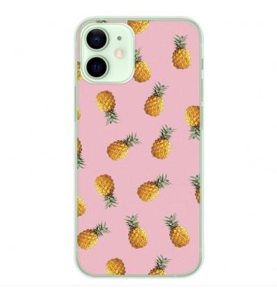 Coque en silicone Apple iPhone 12 Mini - Pluie d'ananas