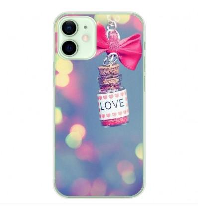 Coque en silicone Apple iPhone 12 Mini - Love noeud rose