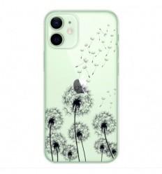 Coque en silicone Apple iPhone 12 Mini - Pissenlits Noir