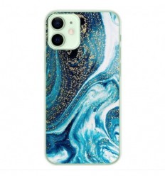 Coque en silicone Apple iPhone 12 Mini - Marbre Bleu Pailleté