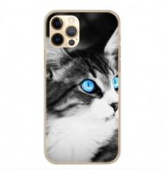 Coque en silicone Apple iPhone 12 Pro - Chat yeux bleu