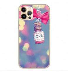 Coque en silicone Apple iPhone 12 Pro - Love noeud rose