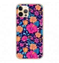 Coque en silicone Apple iPhone 12 Pro - Fleurs Exotiques