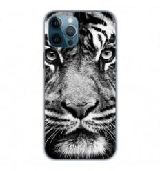 Coque en silicone Apple iPhone 12 Pro Max - Tigre blanc et noir