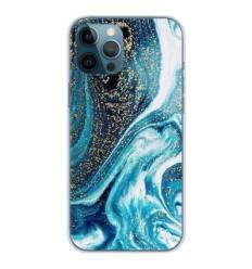 Coque en silicone Apple iPhone 12 Pro Max - Marbre Bleu Pailleté