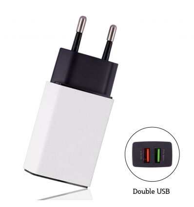 Chargeur secteur double USB CU202 2.4A - Blanc
