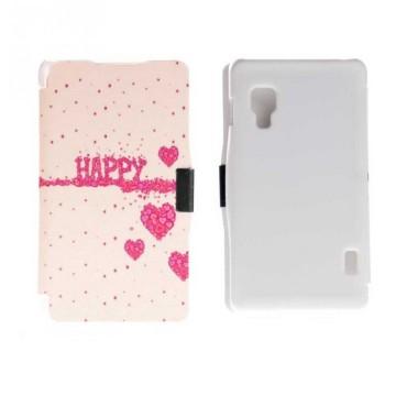 Etui pour LG Optimus L5 II Folio Love Happy