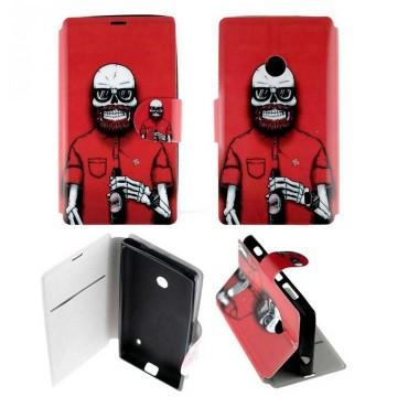 Etui pour Nokia Lumia 520 Folio Tête de mort barbue