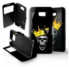 Etui Samsung Galaxy Alpha Folio Tête de mort Roi