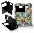 Etui Samsung Galaxy Alpha Folio Fleurs boucles