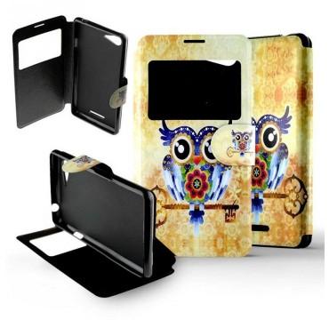 Etui pour Sony Xperia E2 / E3 Folio Hibou clé