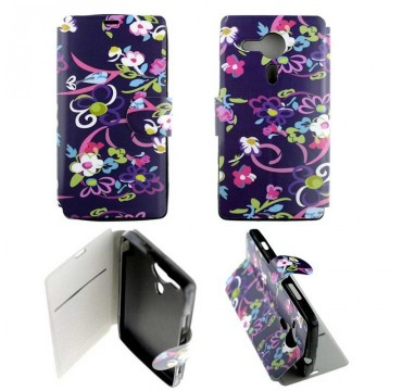 Etui Sony Xperia SP Folio Fleurs Mauve