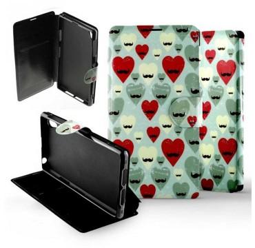 Etui pour Sony Xperia Z1 Folio Hipster Heart
