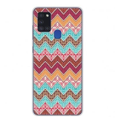 Coque en silicone pour Samsung Galaxy A21S - Zigzag Ethnique