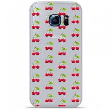 Coque en silicone pour Samsung Galaxy S7 - Cerises Gris