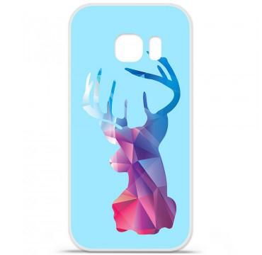 Coque en silicone pour Samsung Galaxy S7 Edge - Cerf Hipster Bleu