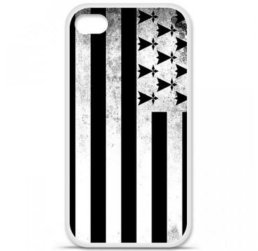 Coque en silicone pour Apple iPhone 4 / 4S - Drapeau Bretagne