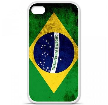 Coque en silicone Apple iPhone 4 / 4S - Drapeau Brésil