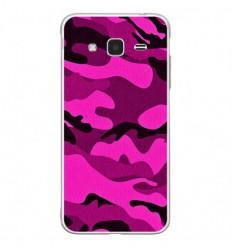 Coque en silicone Samsung Galaxy J3 2016 - Camouflage rose