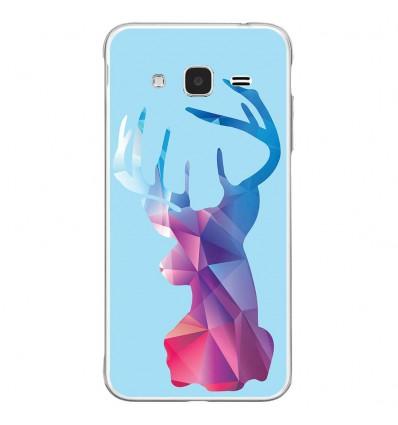 Coque en silicone Samsung Galaxy J3 2016 - Cerf Hipster Bleu