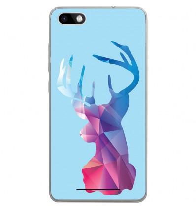 Coque en silicone Wiko Lenny 3 - Cerf Hipster Bleu