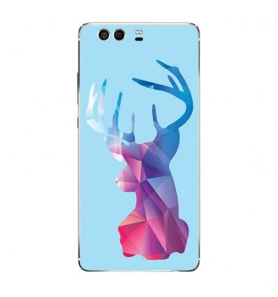 Coque en silicone Huawei P9 - Cerf Hipster Bleu