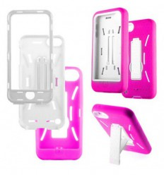 Coque Iphone 5 / 5S Ultra Resistante en Silicone Gel Givré- Blanc / Rose Fushia