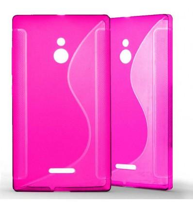 Coque Nokia XL Grip en Silicone Gel Givré- Rose Fushia