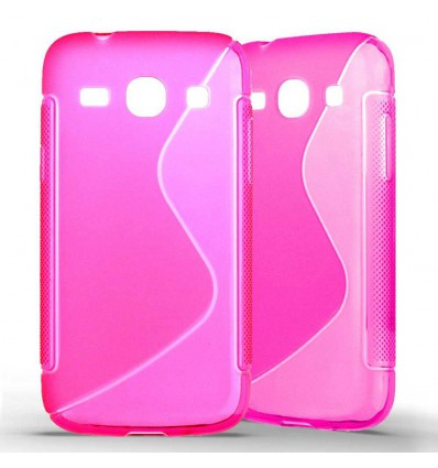 Coque Samsung Galaxy Core plus G3500 Grip en Silicone Gel Givré- Rose Fushia