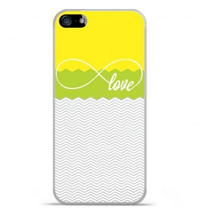 Coque en silicone Apple iPhone SE - Love Jaune